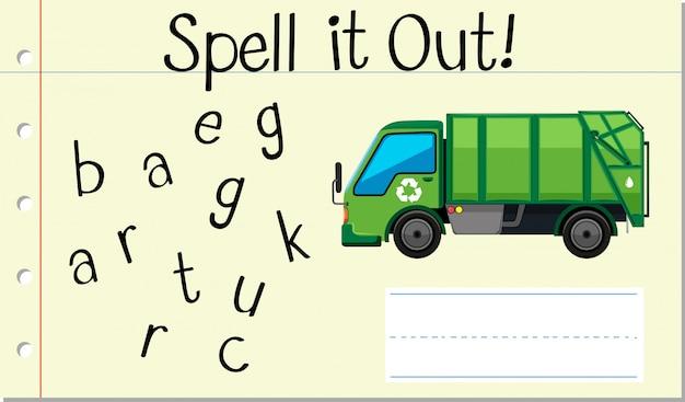 Soletrar palavra inglesa caminhão de lixo