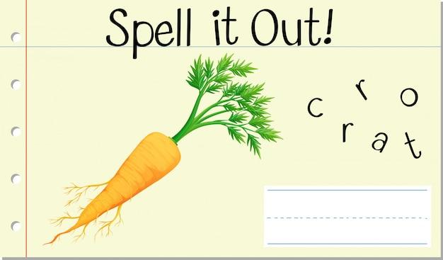 Soletrar palavra inglesa cenoura