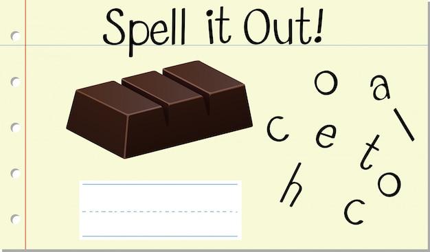Soletrar palavra inglesa chocolate