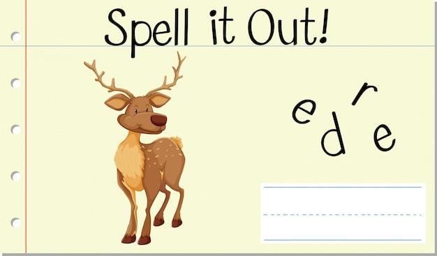 Soletrar palavra inglesa deer