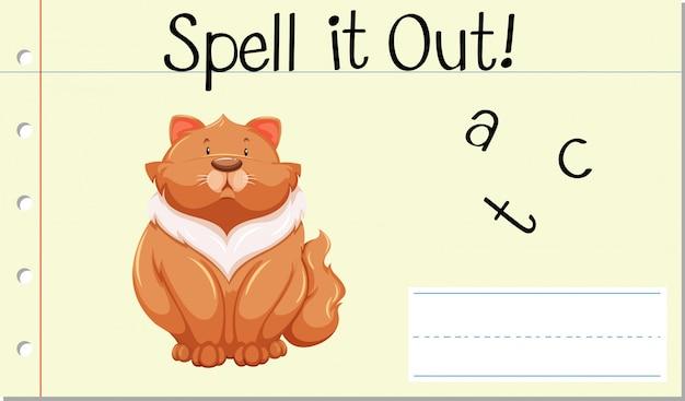 Soletrar palavra inglesa gato