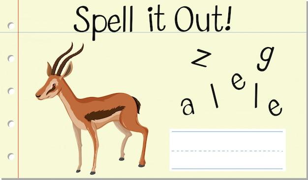 Soletrar, palavra inglesa, gazela