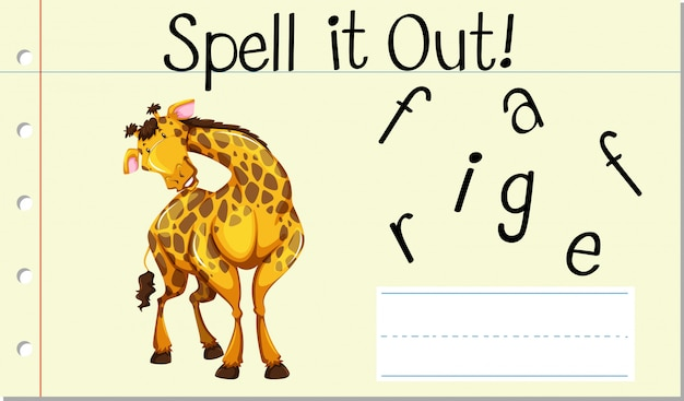 Soletrar palavra inglesa girafa