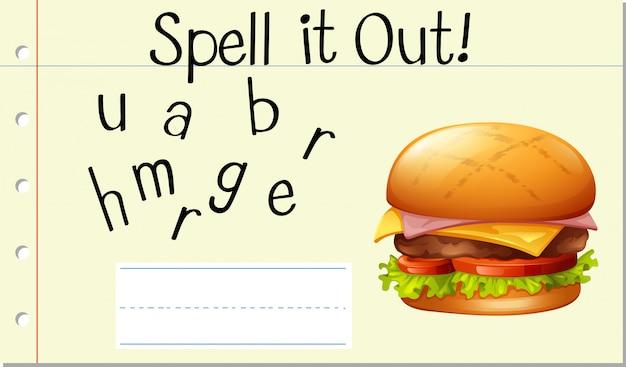 Soletrar palavra inglesa hamburger