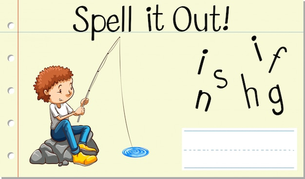 Soletrar pesca com palavras em inglês