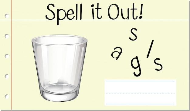 Soletrar vidro de palavra em inglês