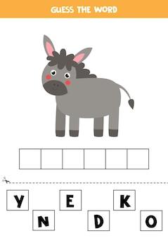 Soletre a palavra burro. ilustração de burro bonito. jogo de soletrar para crianças.