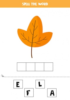 Soletre a palavra folha. jogo de gramática inglesa para crianças.