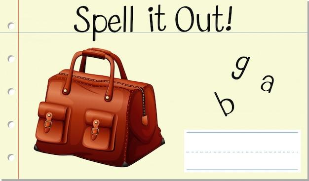 Soletre a palavra inglesa bolsa para compra