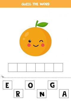 Soletre a palavra laranja. jogo educativo para crianças.