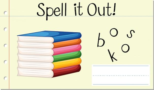 Soletre livros de palavras em inglês