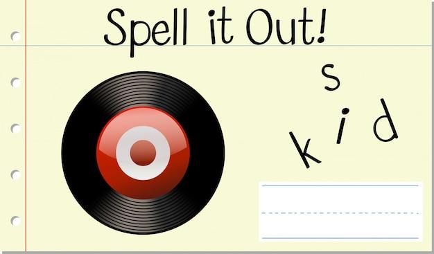 Soletre o disco da palavra em inglês