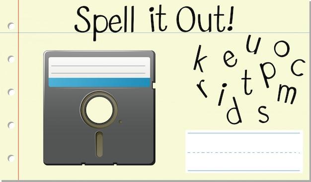 Soletre o disco do computador da palavra em inglês