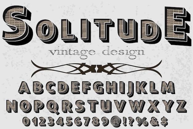 Solidão de design de rótulo de alfabeto