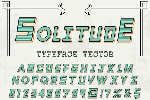 Solidão de design de rótulo retrô alfabeto
