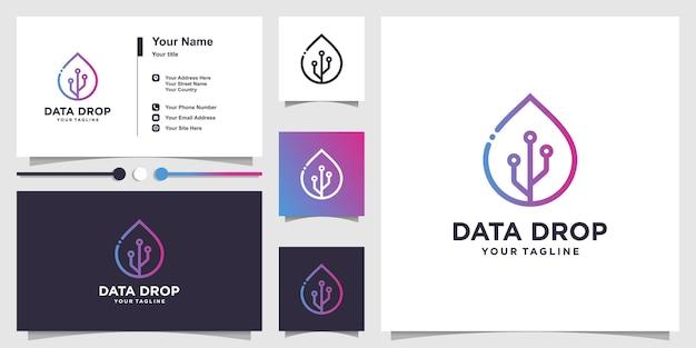 Soltar logotipo de dados com estilo de arte de linha e conjunto de cartão de visita
