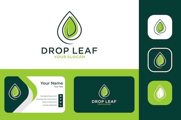 Solte a natureza com design de logotipo de folha e cartão de visita