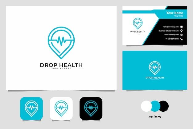 Solte a saúde com design de logotipo de estilo de arte de linha e cartão de visita. bom uso para logotipo médico