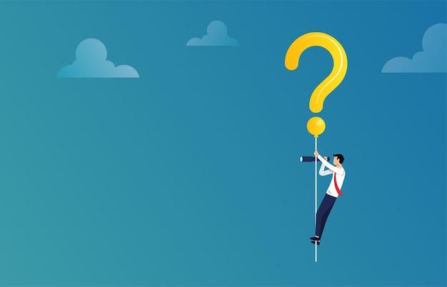 Solução bsuccessfinding e conceito de resolução de problemas. empresário voando com ilustração de ponto de interrogação.