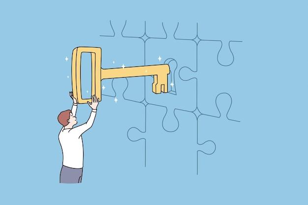 Solução chave de negócios e conceito de sucesso