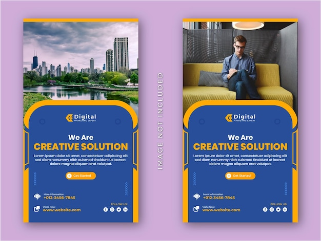 Solução criativa agência de marketing e panfleto de negócios corporativos histórias modernas do instagram mídia social modelo de banner de postagem