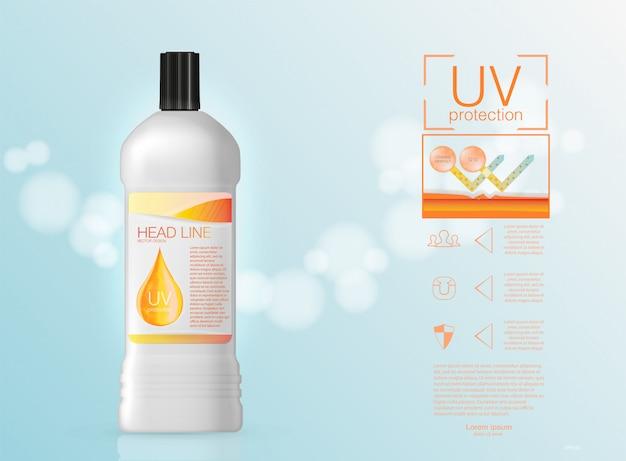 Solução de cosméticos. suprema essência da gota de óleo de colágeno com hélice de dna