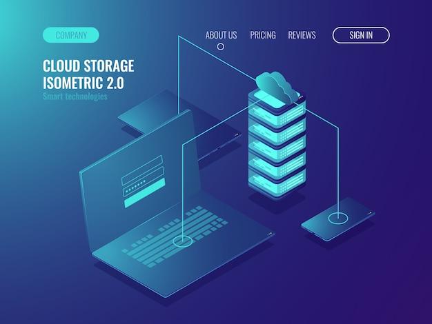 Solução de hospedagem na web, armazenamento de dados do servidor em nuvem, transferência de dados e transmissão de dados