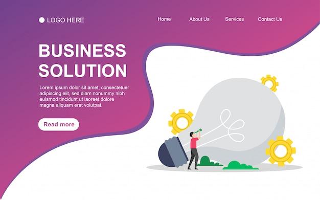 Solução de negócios com caráter de pessoas para o modelo de página de aterrissagem da web.