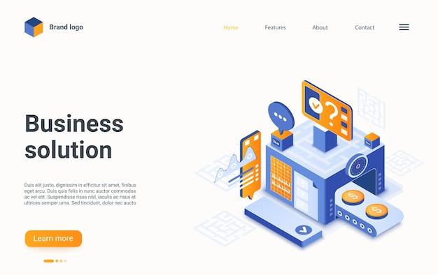 Solução de negócios, máquina transportadora gerando conceito de modelo web isométrico de processo de ideia