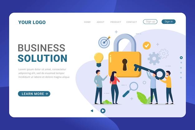 Solução de negócios modelo de página de destino