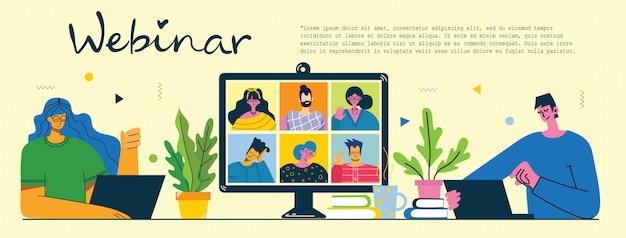 Solução de negócios on-line para webinar. as pessoas usam o bate-papo por vídeo no desktop e laptop para fazer a conferência. apartamento moderno ilustração.