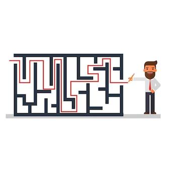 Solução de pensamento do empresário de um labirinto