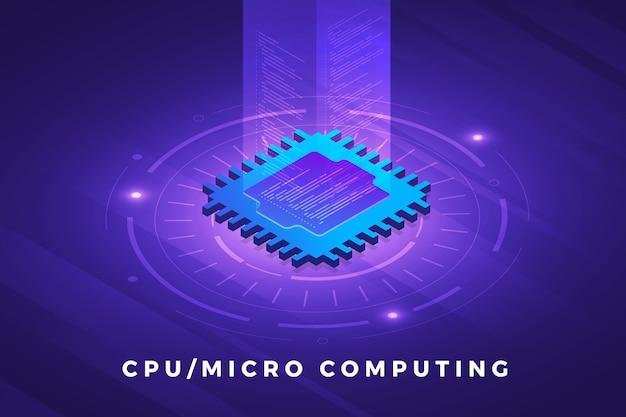 Solução de tecnologia de conceito de design de ilustrações isométricas no topo com chip de processador cpu