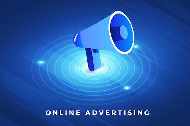 Solução de tecnologia de conceito de design de ilustrações isométricas no topo com publicidade digital