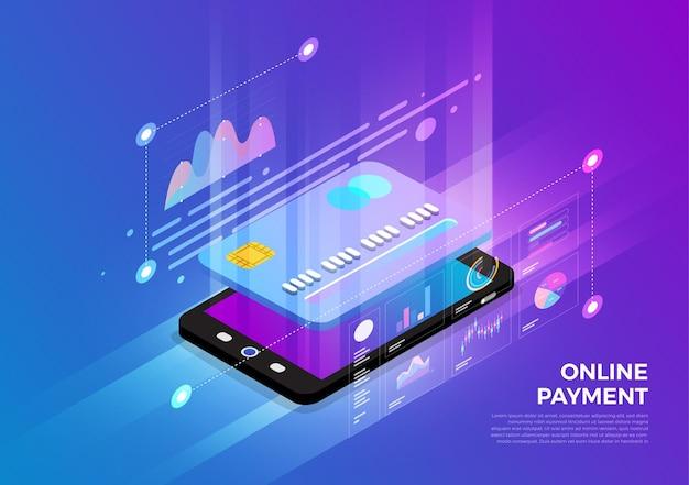 Solução de tecnologia móvel de conceito de design de ilustrações isométricas em cima com pagamento online