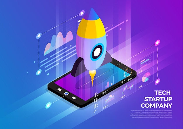 Solução de tecnologia móvel de conceito de design de ilustrações isométricas no topo com a empresa inicial