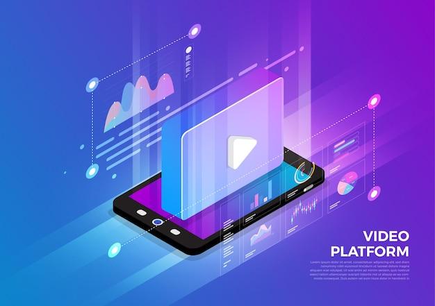 Solução de tecnologia móvel de conceito de design de ilustrações isométricas no topo com plataforma de vídeo