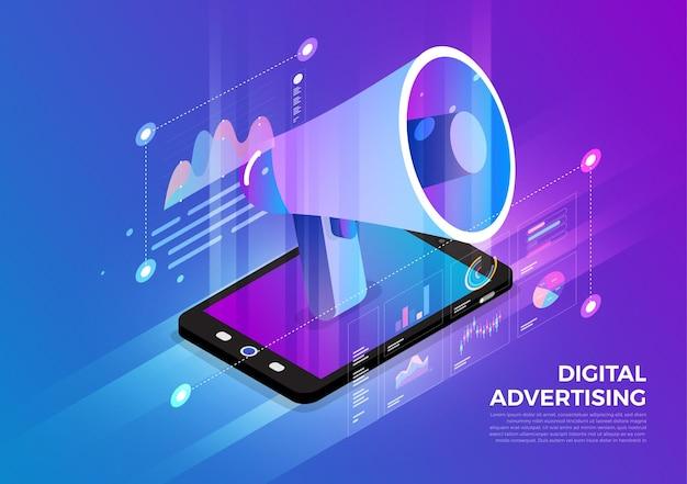 Solução de tecnologia móvel de conceito de design de ilustrações isométricas no topo com publicidade digital