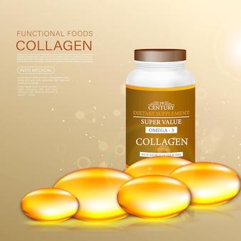 Solução de tratamento anti-envelhecimento gold pearl. colágeno, omega 3, ilustração 3d, cápsulas.