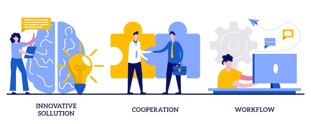 Solução inovadora, cooperação, fluxo de trabalho. conjunto de trabalho eficaz, geração de ideias criativas