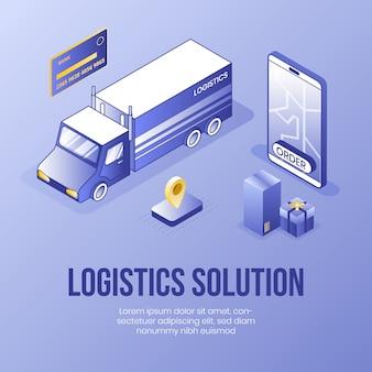 Solução logística. conceito de design isométrico digital