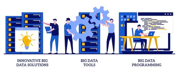 Soluções de big data, ferramentas e conceito de programação com ilustração de tiny people