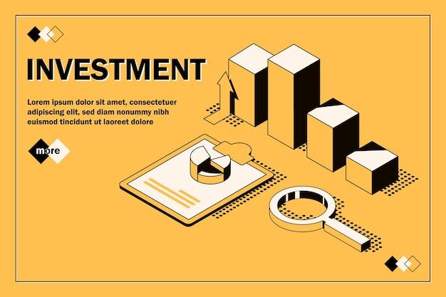 Soluções de comércio para o conceito de análise de investimentos análise de dados de crescimento de estatísticas de vendas