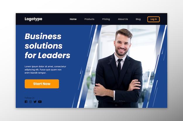 Soluções de negócios da página de destino para líderes