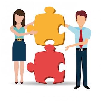 Soluções de negócios e trabalho em equipe