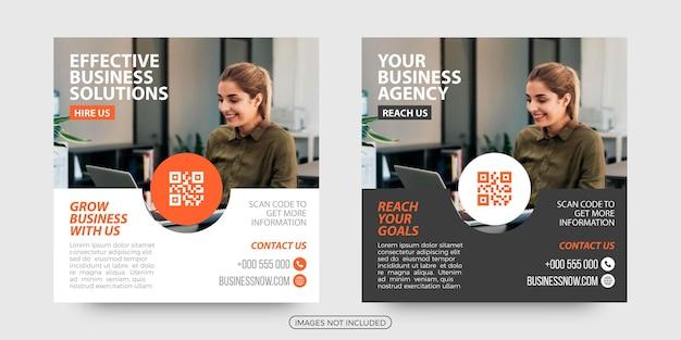 Soluções de negócios eficazes modelos de postagem de mídia social