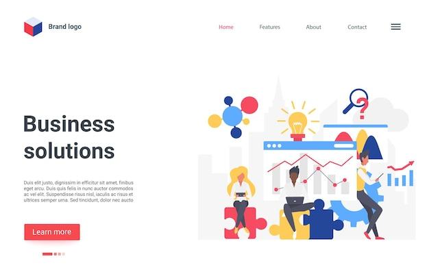 Soluções de negócios solução conceito trabalho em equipe página inicial empresário trabalhando no problema