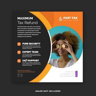 Soluções fiscais avançadas postagem no instagram e modelo de banner de mídia social