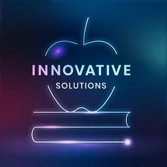 Soluções inovadoras logotipo modelo vetor tecnologia educacional com gráfico de livro didático