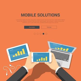 Soluções móveis financiam o conceito de aplicativo. as mãos guardam o telefone com ilustração vetorial de gráfico de barras.